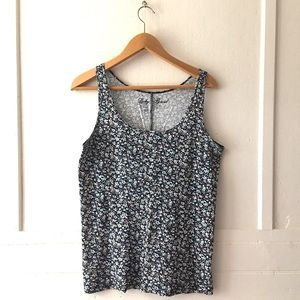Colorful Navy Floral Ribbed Tank - Lucky Brand